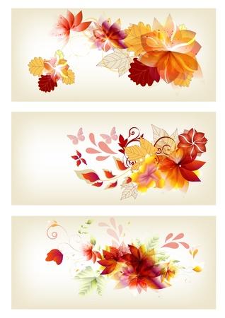 three leaf: Design brochure in floral style  Floral Illustration