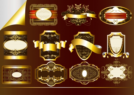 set of  brown gold-flamed labels  Labels collection Vector