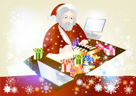 Greeting card with Santa Claus and gifts  Christmas  Vector