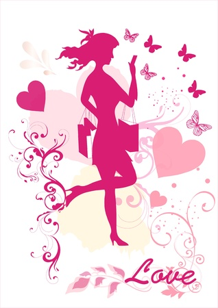 Silhouette of pretty girl with hearts  Silhouettes Vector