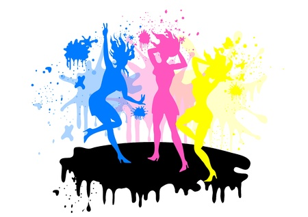 Girls silhouette in CMYK colors  Silhouettes Vector