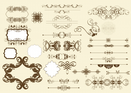 Conjunto de elementos caligráficos