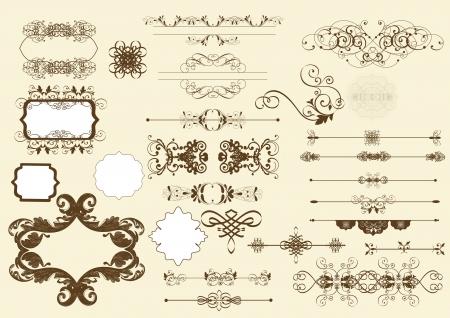 elementos: Conjunto de elementos caligráficos