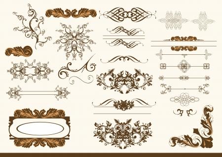 Set of calligraphic elements.