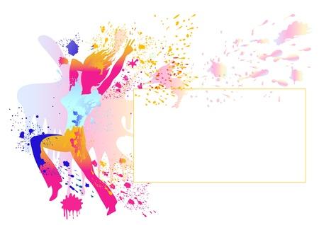 salto largo: Esbelta silueta de la muchacha con splats coloridos pintados silueta