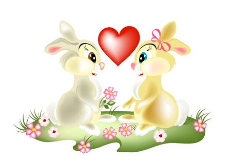bunny rabbit: pretty couple cartoon  rabbits  fall in love. Fluffy cartoon hares