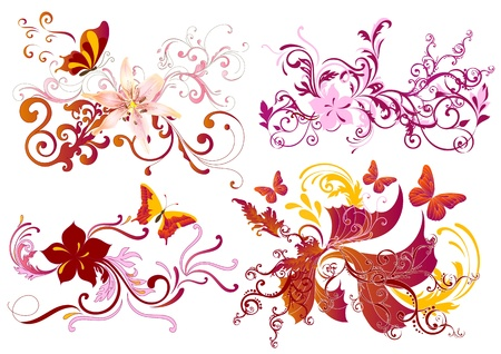 tattoo butterfly: Vector set of swirl floral elements for your design. Calligraphic vector  Illustration