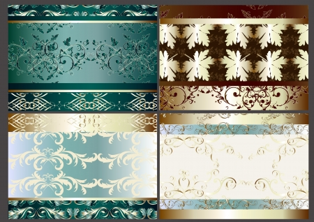 vector set of four seamless wallpaper design elements Vector