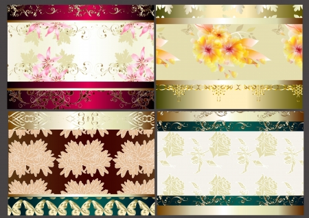 vector set of four seamless wallpaper design elements Stock Vector - 14890074