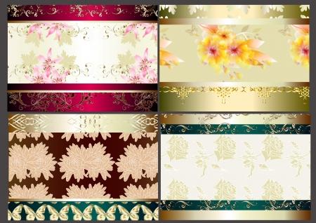 vector set of four seamless wallpaper design elements Stock Vector - 14890074