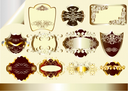 Vector set of  silver and gold-flamed labels. Labels collection Stock Vector - 14890076