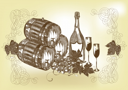wooden barrel: Vector still life with wine and champagne. Wine  Illustration