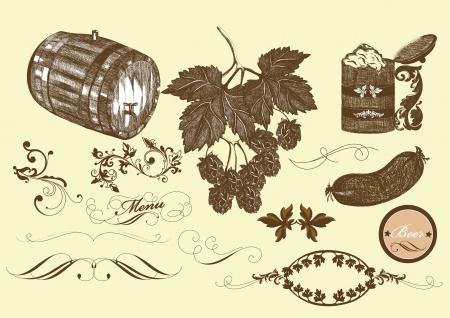 Vector beer elements Stock Vector - 14890093