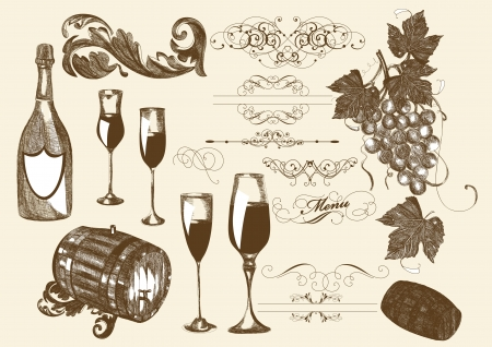 viticulture: hand drawn set vector set of wine and winemaking elements. Wine Illustration