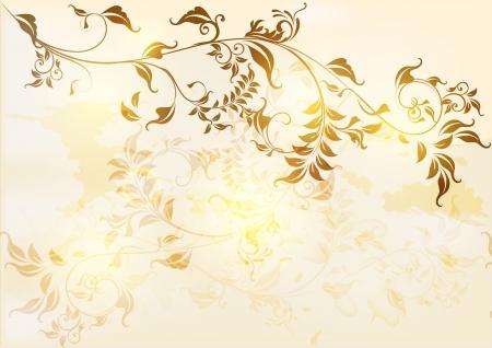 beige stof: Elegante antieke achtergrond in bloemen vintage stijl Vintage design Stock Illustratie