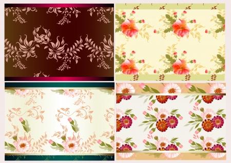 Floral seamless wallpaper set  Vintage design Stock Vector - 15067236