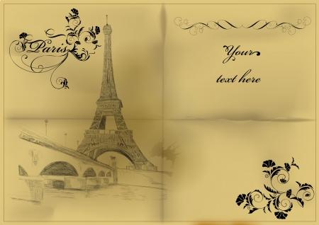 paris vintage: Tarjeta vector vendimia con la torre Eiffel