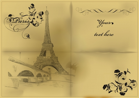 Vintage vector card with Eiffel tower Illustration