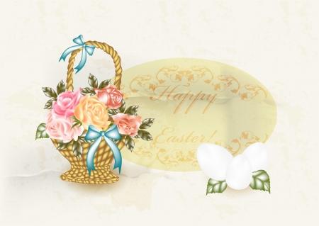 gift basket: Easter card in vintage style  Illustration