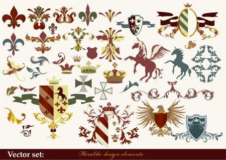 escudo de armas: Luxury heráldicos elementos para el diseño