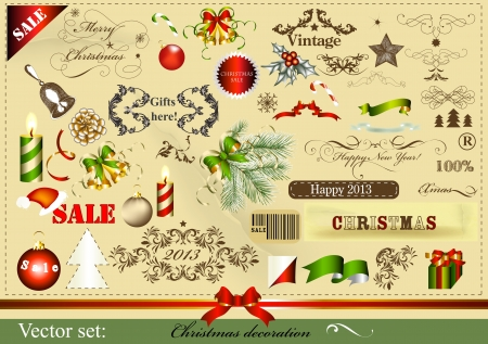 hollies: Set of vector calligraphic and typographic xmas design elements in vintage style  Christmas vector