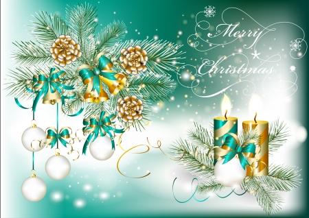 fur tree ornament: Elegant Christmas card  Christmas vector