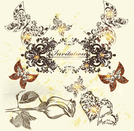 Decorative invitation card for elegant design  Calligraphic vector  Vector
