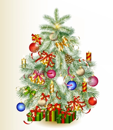 Xmas card for design with realistic Christmas tree  Illustration