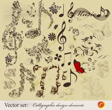 Les éléments décoratifs de design élégant calligraphique