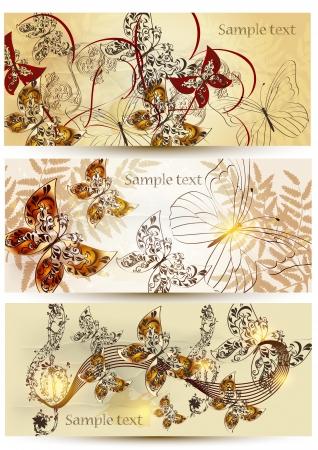 filigree: Set van bloemen kaarten voor uw ontwerp