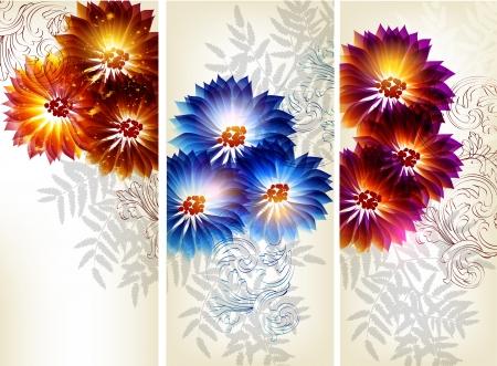 ornate swirls: Floral cards Illustration