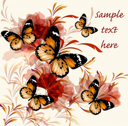 illustration with butterflies  Stock Vector - 16162711