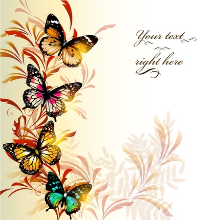 floral borders: illustration with butterflies