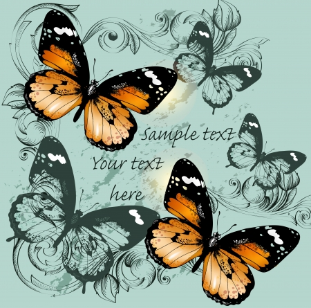 butterfly vintage: illustration with butterflies