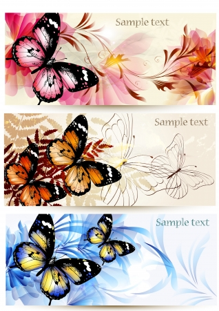 colorful butterfly: Set of floral  cards  with butterflies for  your design