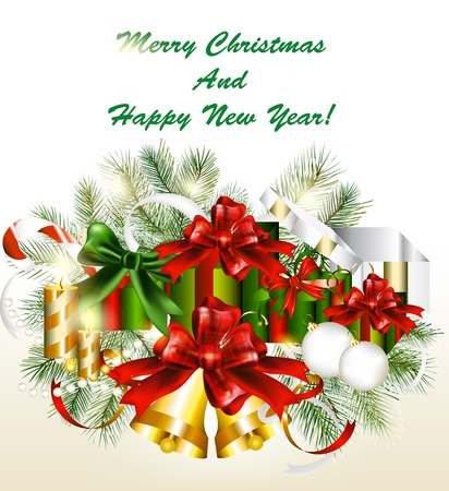 glimmered: Christmas card with gifts  Christmas vector