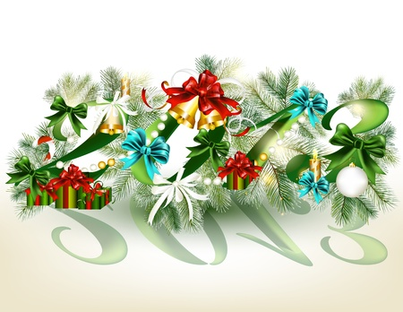 Christmas card with 2013 number  Christmas vector Stock Vector - 16391406