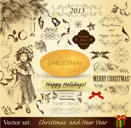 Decorative elements for elegant Christmas design  Calligraphic vector Vector