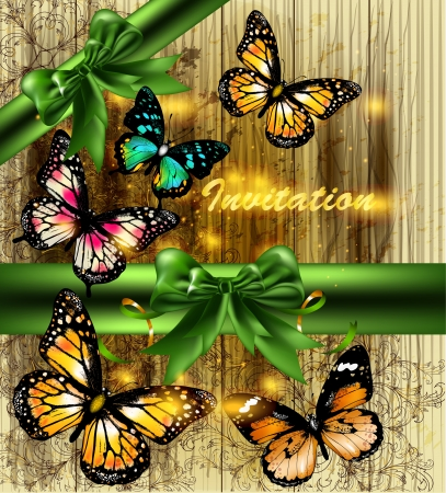 Vector illustration with butterflies and wooden texture Vector