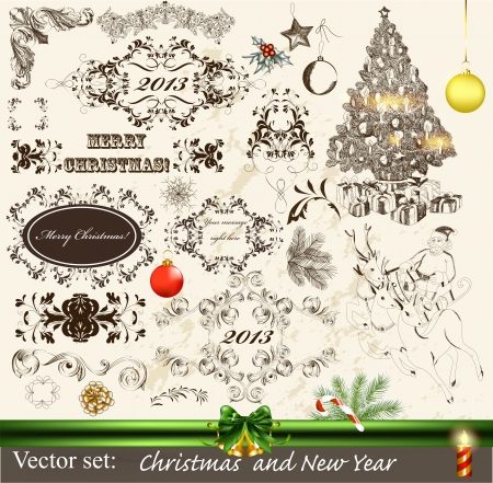 victorian christmas: Decorative elements for elegant Christmas design  Calligraphic vector