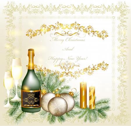 Elegant Christmas card  Christmas vector  Vector