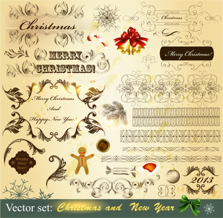 Decorative elements for elegant Christmas design  Calligraphic vector Stock Vector - 16483694