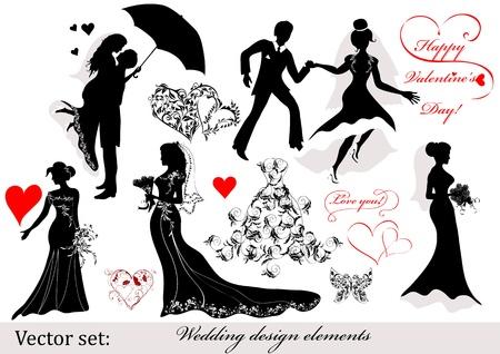 bridal dress: Matrimonio Vettoriali