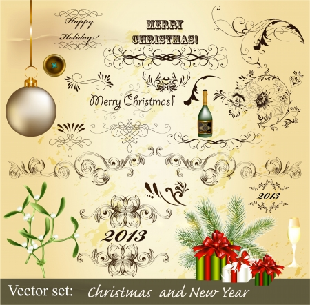 Decorative elements for elegant Christmas design photo