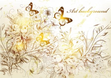 victorian wallpaper: Floral vector Illustration