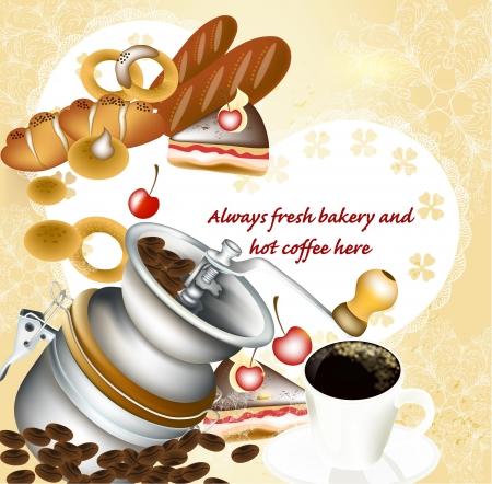 turkish dessert: Vector background with coffee Illustration