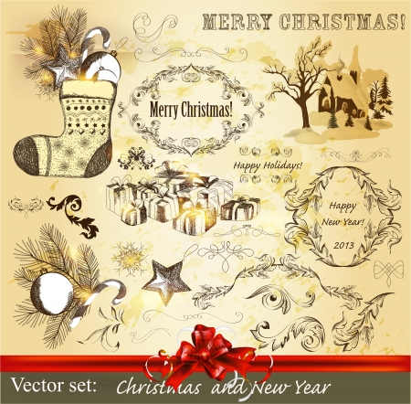Decorative elements for elegant Christmas design  Calligraphic vector Stock Vector - 16766473