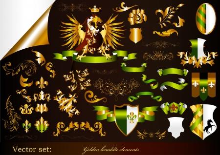 lily flowers set: Luxury heraldic elements for design
