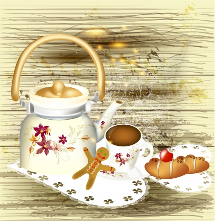 background with teapot  Stock Vector - 16986952