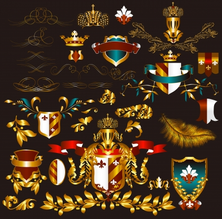Luxury heraldic elements for design Vector
